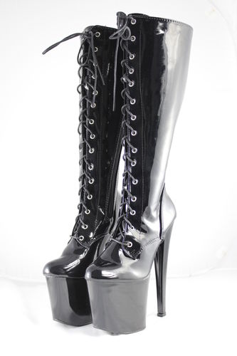 Patent knee high boots 19cm